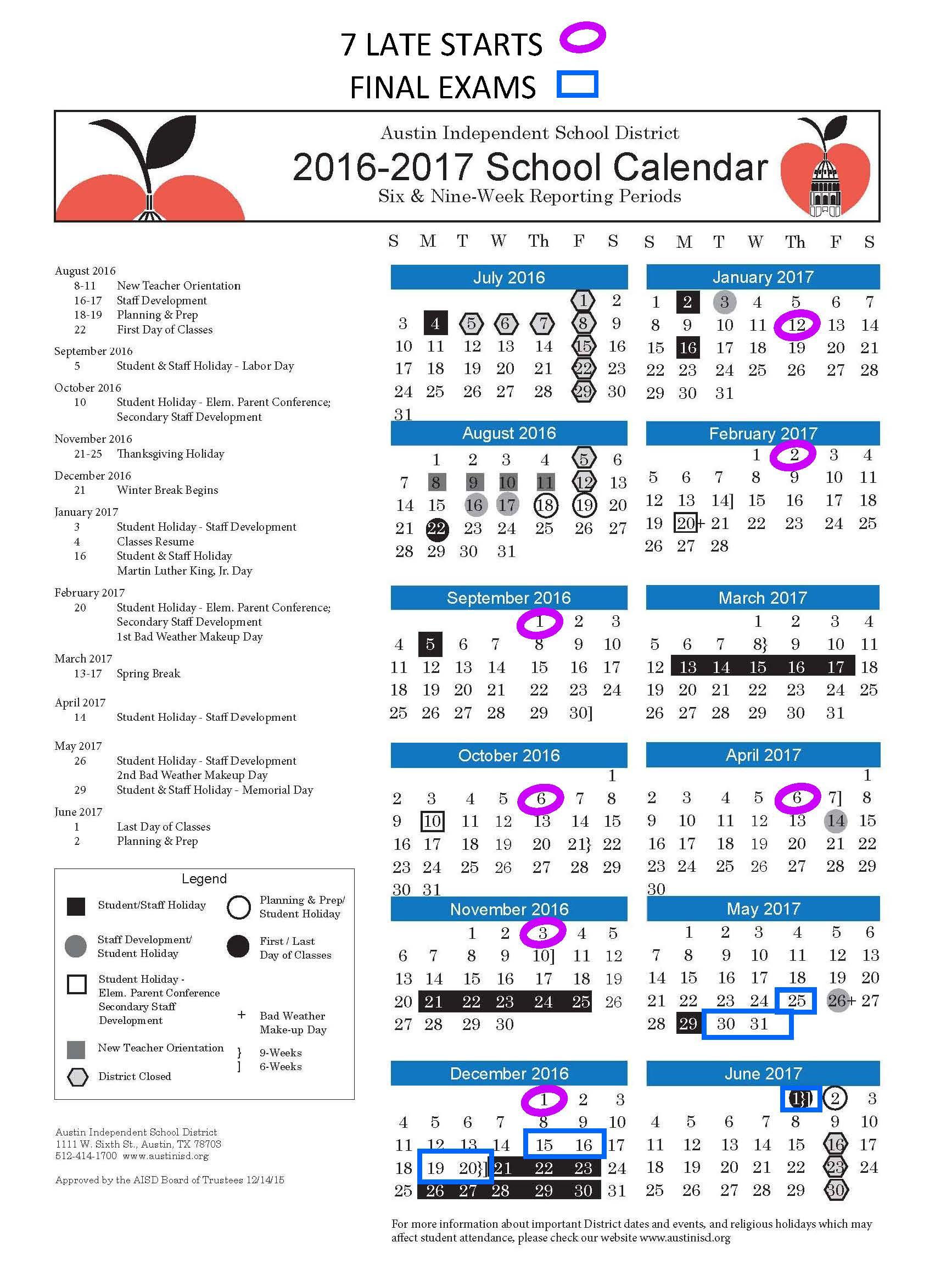 Arlington Isd School Calendar 2017 18