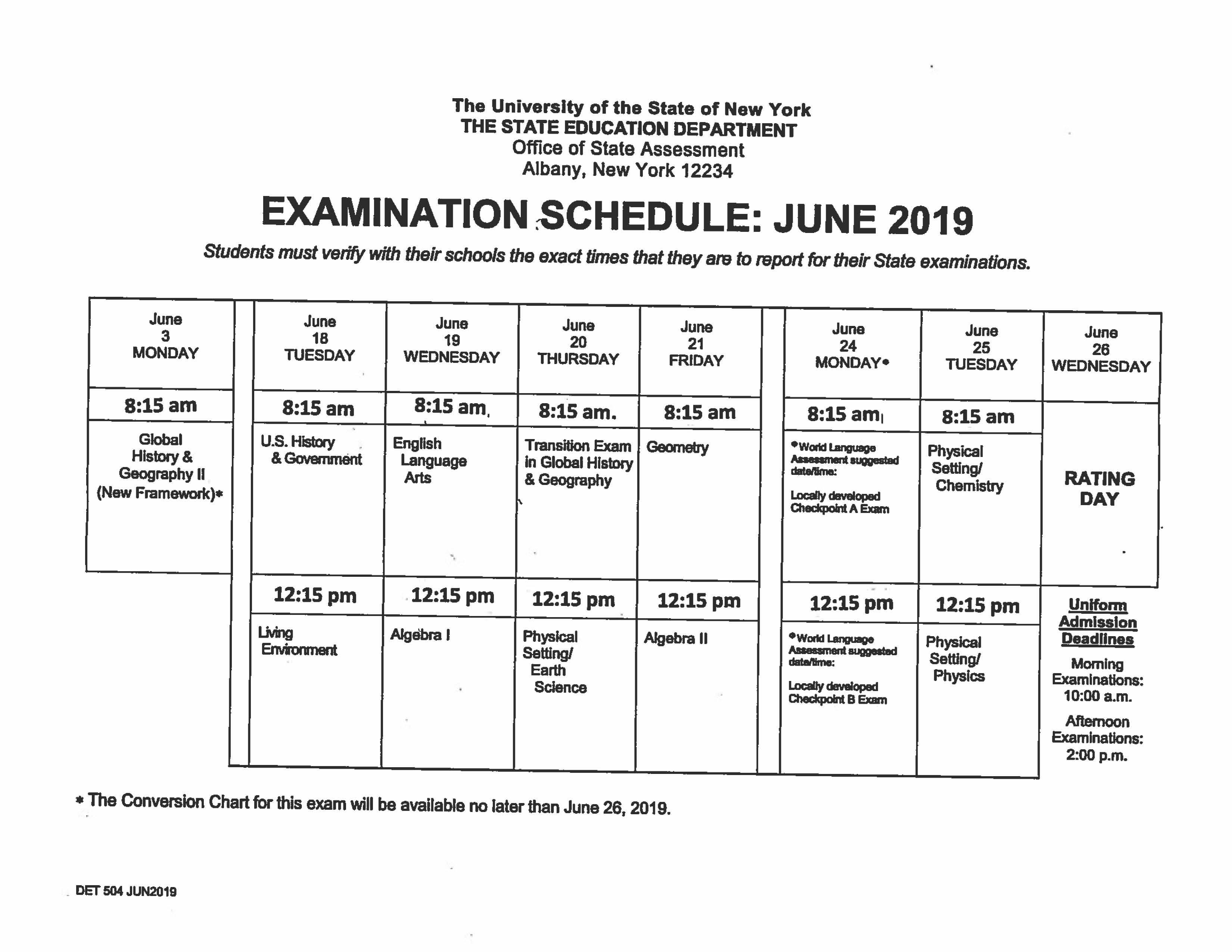 Regents Schedule 2019 Hadley Luzerne Junior/Senior High School: Highlights   June 2019